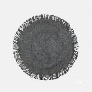 Jute vloerkleed zwart rond